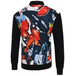 cheap 3D Color Block Butterfly Print Stand Collar Zip-Up Jacket