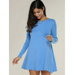 cheap Long Sleeve Plain Knitted Tunic Dress