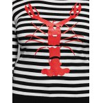 Striped Crayfish Pattern Plus Size Knitwear for sale