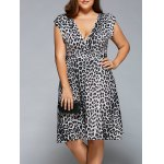 Plunging Neck Leopard Print Plus Size Dress