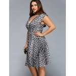 cheap Plunging Neck Leopard Print Plus Size Dress