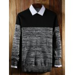 Crew Neck Color Block Splicing Knit Blends Sweater photo