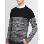 cheap Crew Neck Color Block Splicing Knit Blends Sweater