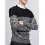 Crew Neck Color Block Splicing Knit Blends Sweater deal