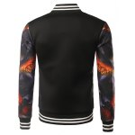 cheap Stand Collar 3D Printed Varsity Striped Jacket