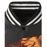 Stand Collar 3D Printed Varsity Striped Jacket deal