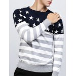 Crew Neck Star and Stripe Splicing Knitting Sweater deal