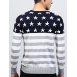 Crew Neck Star and Stripe Splicing Knitting Sweater for sale