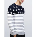 cheap Crew Neck Star and Stripe Splicing Knitting Sweater