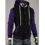 cheap Hooded Color Block Stripe Spliced Varsity Hoodie