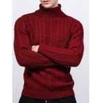 cheap Roll Neck Kink Design Long Sleeve Sweater