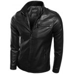 Rib Splicing Stand Collar Zip-Up PU-Leather Jacket 11027