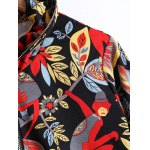 Plus Size Plant Print Zippered Jacket deal