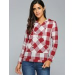 Kangaroo Pocket  Plaid Pattern Hoodie deal