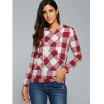 cheap Kangaroo Pocket  Plaid Pattern Hoodie