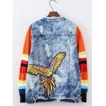 cheap Plus Size Knitted Sleeves Applique Jacket