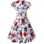 Knee Length Floral Flare Pin Up Dress deal