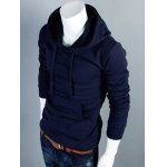 cheap Plain Kangaroo Pocket Drawstring Pullover Hoodie