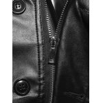 Stand Collar Single-Breasted Zip-Up PU-Leather Jacket photo