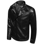 cheap Stand Collar Single-Breasted Zip-Up PU-Leather Jacket