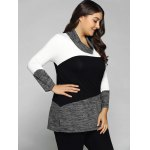 cheap Plus Size Cowl Neck Heathered Blouse