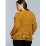 Textured Frayed Openwork Sweater for sale