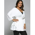 cheap Plus Size Surplice Empire Waist Blouse