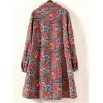 cheap Plus Size High Low Floral Print Coat