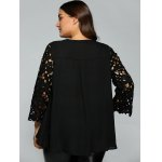 Plus Size Lace Sleeve Cut Out Blouse for sale