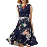 Vintage Round Neck Sleeveless Floral Print Slimming Women's Dress photo