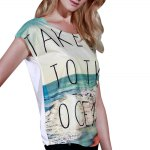 best Casual Scoop Neck Beach Print Short Sleeve T-Shirt For Women