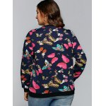 Butterfly Print Textured Pullover Sweatshirt for sale