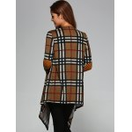 Plaid Elbow Patch Asymmetrical Cardigan for sale