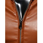 Stand Collar Spliced Design Zip-Up PU-Leather Jacket for sale