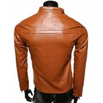 Stand Collar Spliced Design Zip-Up PU-Leather Jacket deal
