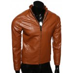 cheap Stand Collar Spliced Design Zip-Up PU-Leather Jacket