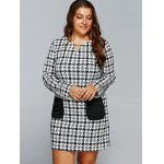 cheap Houndstooth Print Long Sleeve Shift Dress with Pocket