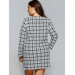 Houndstooth Print Long Sleeve Shift Dress with Pocket for sale