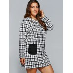 Houndstooth Print Long Sleeve Shift Dress with Pocket deal