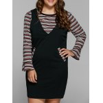 Striped Knitwear and Fitted Pinafore Dress Twinset
