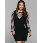 cheap Striped Knitwear and Fitted Suspender Dress Twinset