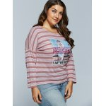 Casual Cool Girl Pattern Long Sleeve Stripe T-Shirt for sale