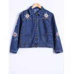 best Double Pockets Floral Embroidery DenimJacket