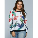 Casual 3D Tropical Plant Print Long Sleeve T-Shirt deal