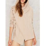 Buttoned Draped Waterfall Hoodie deal