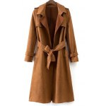 Faux Suede Fitting Trench Coat