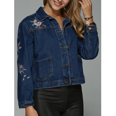 Double Pockets Floral Embroidery Denim Jacket