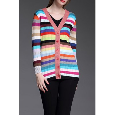Single Breasted Colorful Cardigan