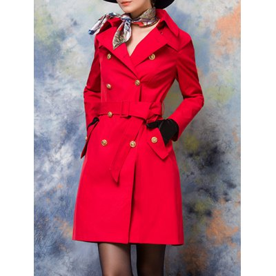 Button Up Belted Skirted Coat