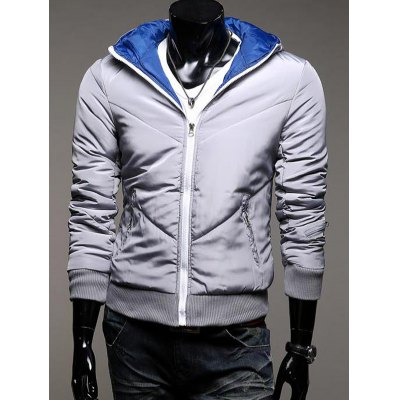 Zippered Hooded Quilted Jacket